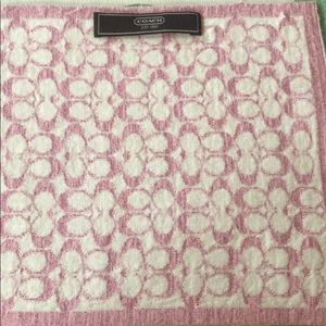 Pink and white reversible Coach scarf